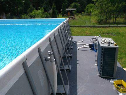 Тепловой насос для бассейна в работе